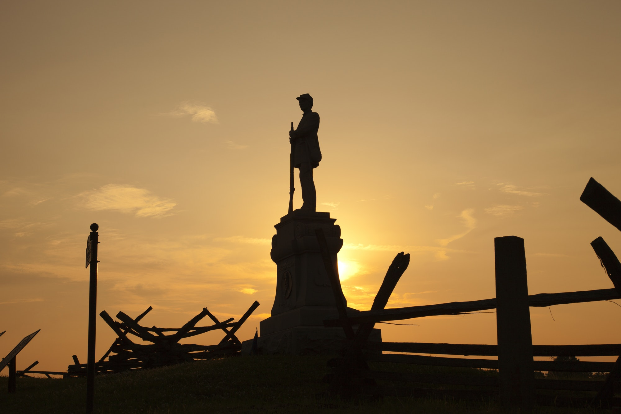 Silhouette of Civil War Soldier on Bloody Lane at Antietam National Battlefield