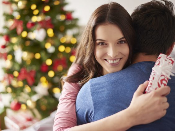 Woman is thankful for Christmas presents